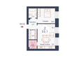 SCANDIS (Скандис), дом 9: Планировка двухкомнатной квартиры 53,1 кв.м