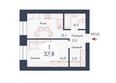 SCANDIS (Скандис), дом 8: Планировка однокомнатной квартиры 37,8 кв.м