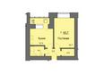 Жилой комплекс SKY SEVEN, б/с 7, 2 оч: Планировка однокомнатной квартиры 43,7 кв.м
