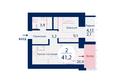 SCANDIS (Скандис), дом 3: Планировка двухкомнатной квартиры 41,2 кв.м