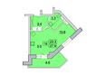 Первый Ленинский квартал, д. 2: Планировка 1-комн 27,9 м²
