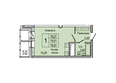 Жилой комплекс НА ДУДИНСКОЙ, дом 2 : Планировка однокомнатной квартиры 30,92 кв.м