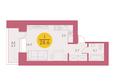 Арбан SMART (Смарт) на Шахтеров, д 2: Планировка однокомнатной квартиры 28,6 кв.м
