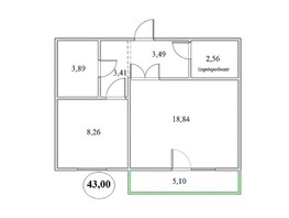 Продается 1-комнатная квартира БЕРЁЗКА, дом 4, 43  м², 2774000 рублей
