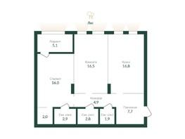 Продается 2-комнатная квартира ЭКО ПАРК, 1 этап, 78  м², 9380000 рублей