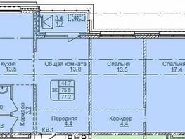 3-комнатная квартира, 77.2  м², 8/17 этаж