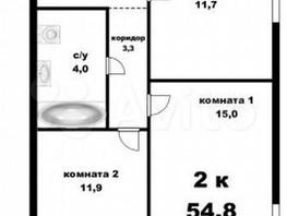 3-комнатная квартира, 55  м², 10/17 этаж