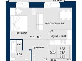 Продается 2-комнатная квартира NORD (Северный Власихинский, 122), Корпус 4, 45.9  м², 3304800 рублей