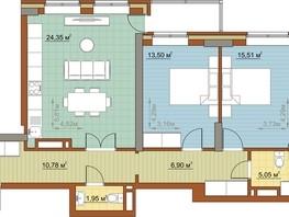 3-комнатная квартира, 78  м², 17/23 этаж