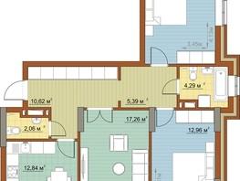 3-комнатная квартира, 79.34  м², 17/22 этаж