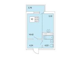 Студия, 30.17  м², 16/25 этаж