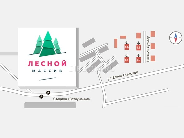 Схема расположения домов ЖК Лесной массив на местности