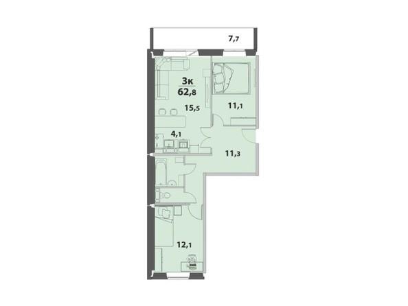 3-комнатная 62.8 кв.м