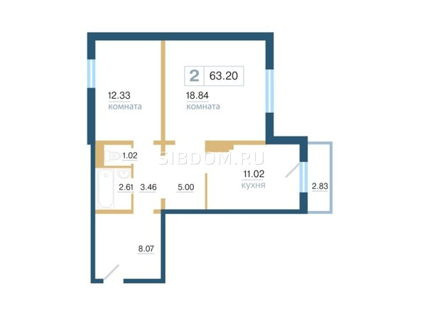 Планировка 2-комн 63,2 м²