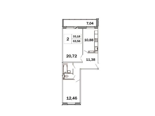 Планировки Жилой комплекс ЯСНЫЙ, дом 1 - Планировка двухкомнатной квартиры 63,58 кв.м