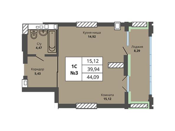 Планировки Жилой комплекс PRIME HOUSE (Прайм хаус) - Планировка однокомнатной квартиры 39,94 кв.м
