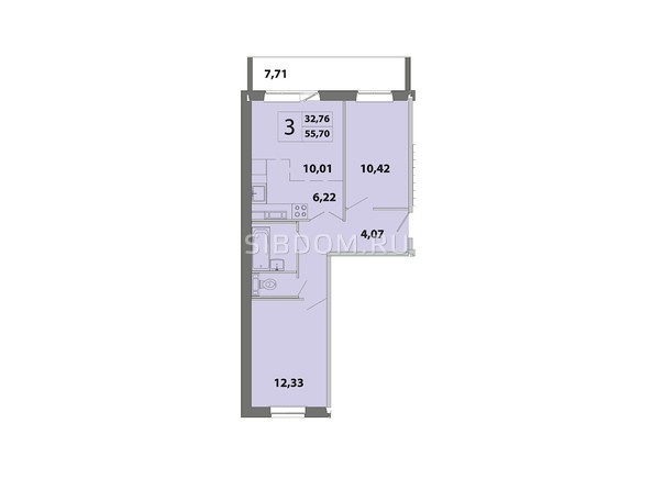 Планировки Жилой комплекс ЗЕЛЁНЫЕ ГОРКИ, КПД-2 - Планировка трёхкомнатной квартиры 55,7 кв.м