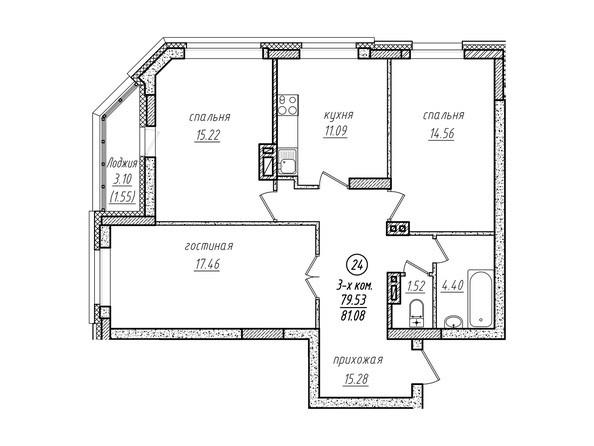 3-комнатная 81.08 кв.м