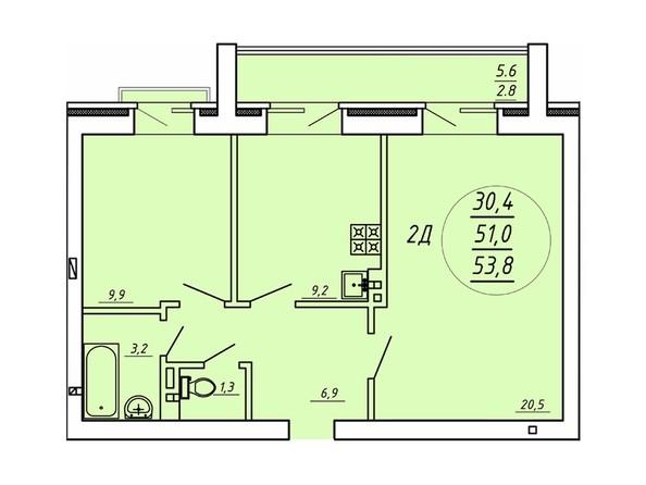 2-комнатная 53,8 кв.м