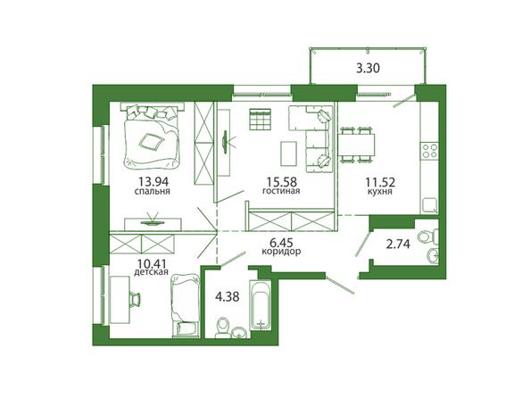 3-комнатная 68,31 кв.м