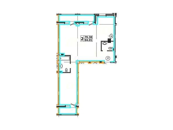 Планировка 2-комнатной квартиры 84,01 кв. м