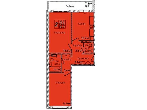 Планировка двухкомнатной квартиры 66,9 кв.м
