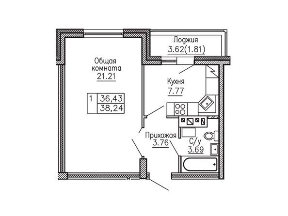1-комнатная 37.98 - 38.41 кв.м