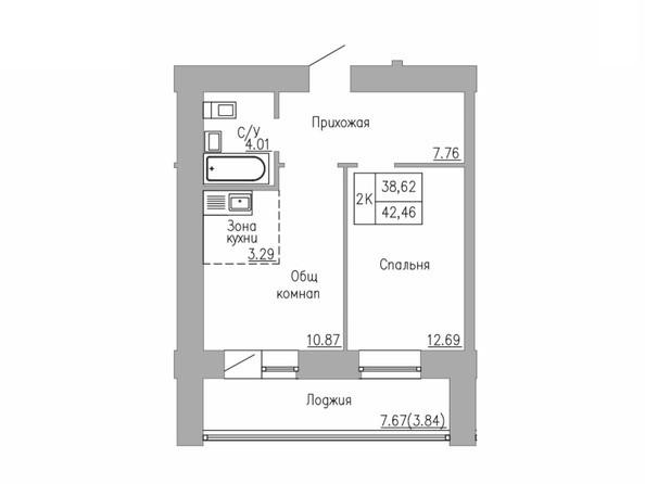 2-комнатная 38 - 42