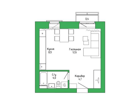 Планировка 1-комн 30,28 м²