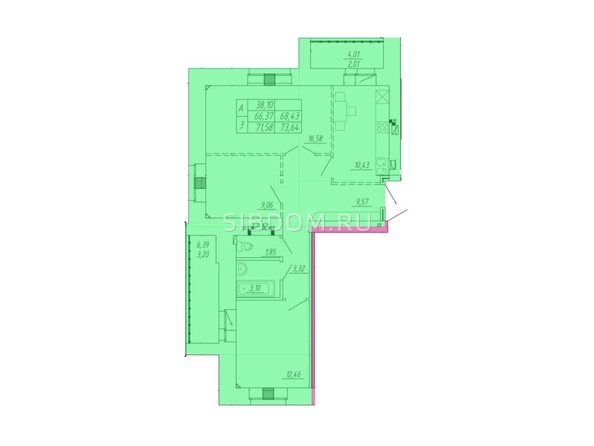 Планировка 3-комн 66,37 - 73,64 м²