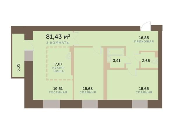 Планировка 3-комн 81,41 м²
