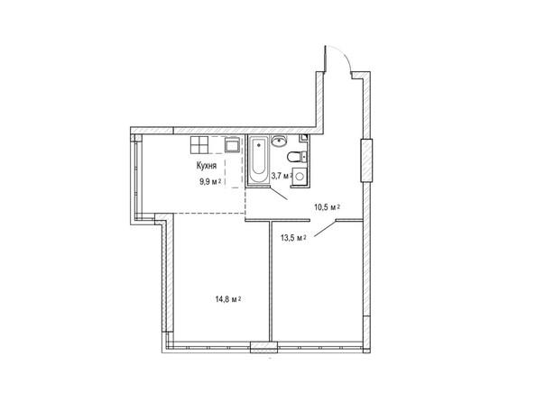 Планировки Жилой комплекс ЮЖНЫЙ, дом «Гранатовый» - 2-комнатная 53,8 кв.м