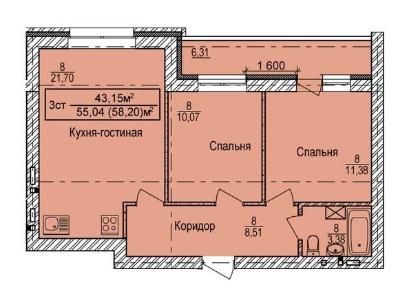 Планировка 3-комн 58,2 м²