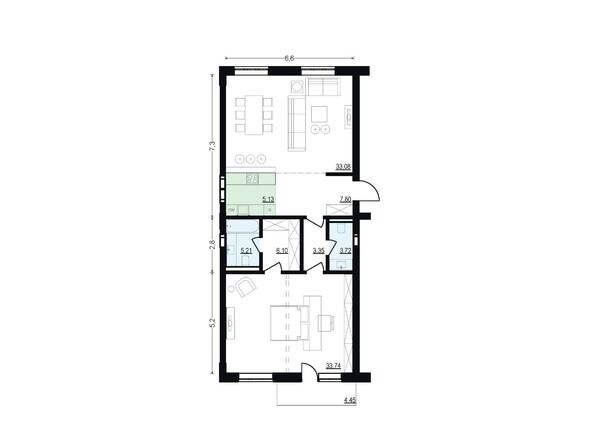 Планировки Жилой комплекс ЖУКОВКА, б/с 7,8 - Планировка двухкомнатной квартиры 98,13 кв.м