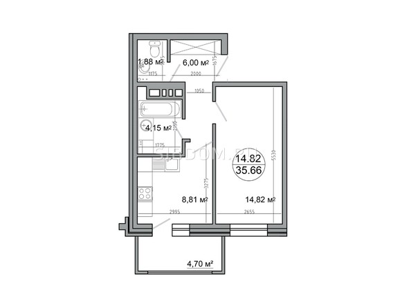 Планировка 1-комн 35,66 м²