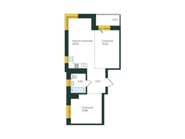3-комнатная 65,95 кв.м.