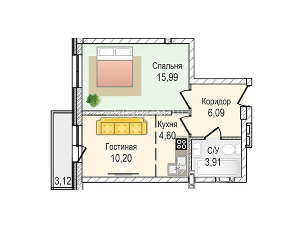 Планировки Жилой комплекс КрымSky, дом 7 - 2-комнатная 40,79 кв.м
