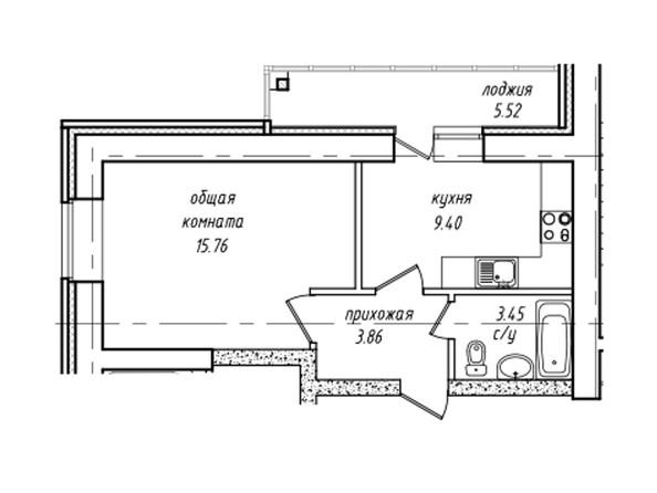 Планировки Жилой комплекс НЕВСКИЙ 2 КВР, 7 дом - Планировка однокомнатной квартиры 35,23 кв.м