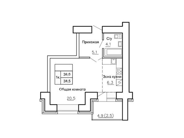 Планировки Жилой комплекс НОВАЯ ПРИСТАНЬ, дом 4 - Планировка однокомнатной квартиры 38,5 кв.м