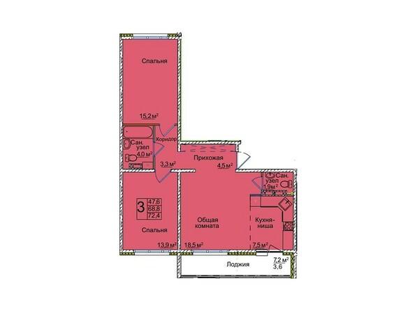 Планировки ВОСТОЧНЫЙ, 85/1а - Планировка трёхкомнатной квартиры 72,4 кв.м
