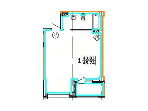 Планировка 1-комнатной квартиры 45,74 кв. м