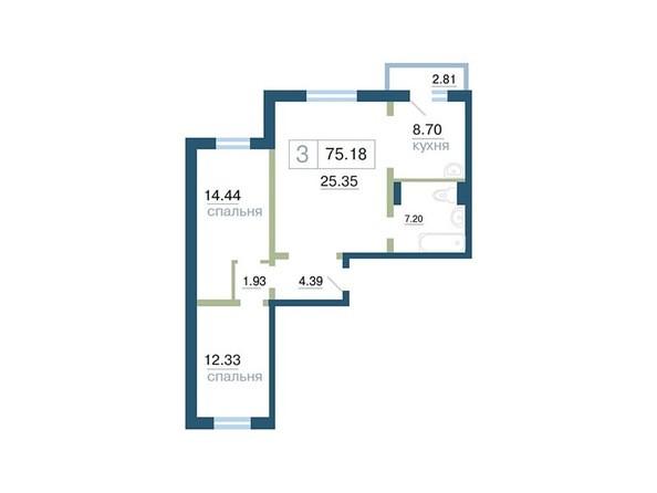 Планировка 3-комн 75,18 м²