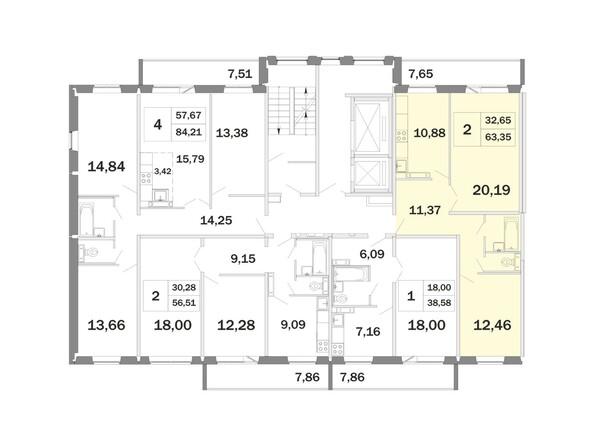Планировки Жилой комплекс РАДОНЕЖСКИЙ, КПД-11 - Планировка двухкомнатной квартиры 63,35 кв.м