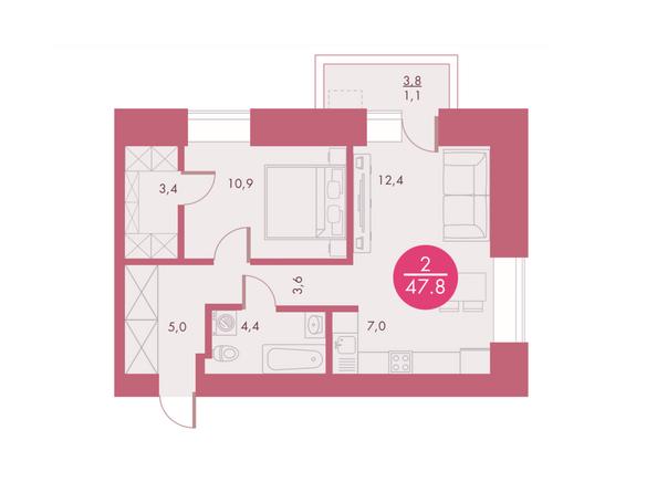 Планировки Жилой комплекс Арбан SMART (Смарт) на Шахтеров, д 1 - Планировка двухкомнатной квартиры 47,8 кв.м