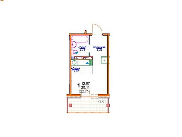 1-комнатная 20 - 25.3 кв.м