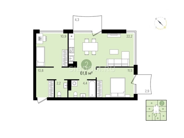 Планировка 2-комн 61,8 м²