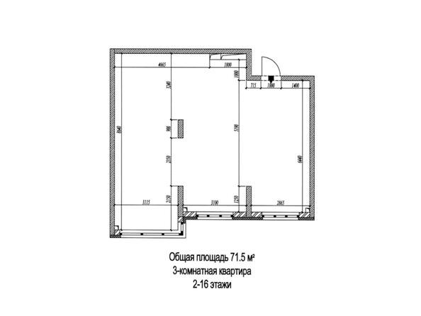 3-комнатная 71,5 кв.м
