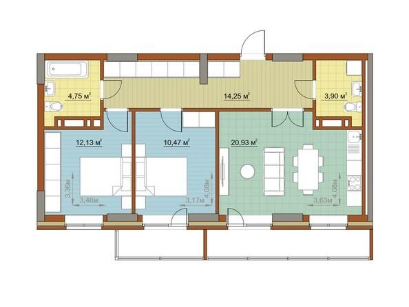 Планировки Жилой комплекс ОСТРОВСКИЙ, б/с 1 - Планировка трехкомнатной квартиры 68,43 кв.м