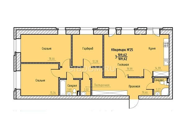 Планировка 3-комн 109,62 м²