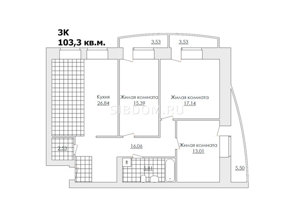 Планировки Жилой комплекс ЖЕМЧУЖИНА - Планировка трёхкомнатной квартиры 103,3 кв.м